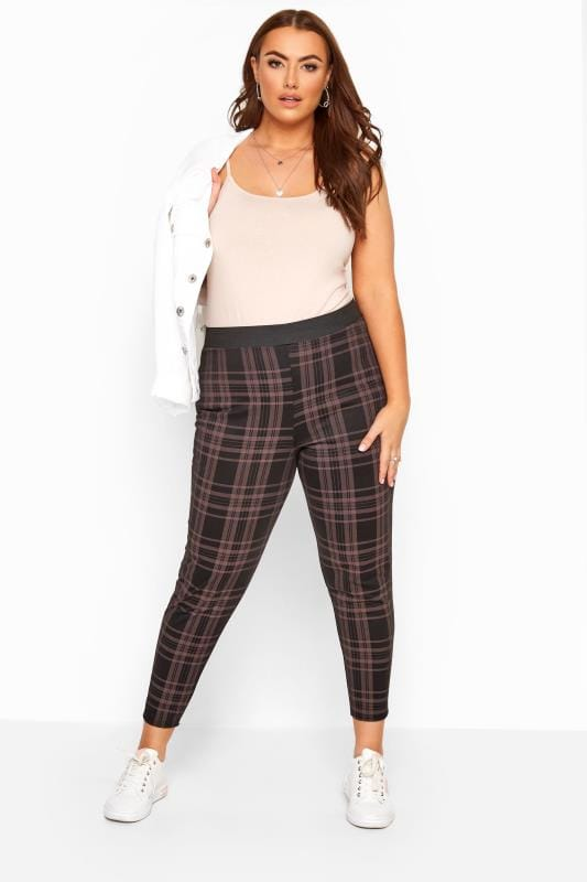 Plus Size Harem Trousers Black Check Trousers