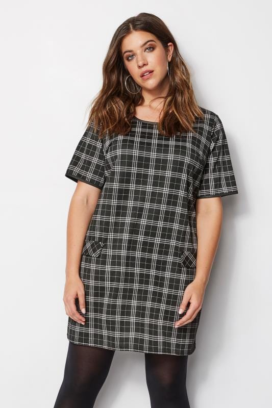 Plus Size LIMITED COLLECTION Black Check Tunic Dress | Sizes ...