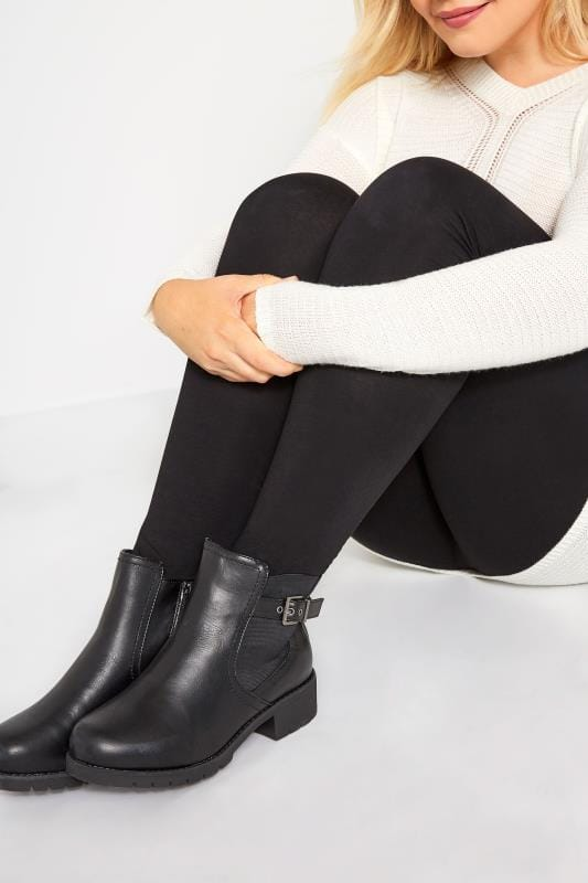 Black Chelsea Buckle Ankle Boots In Extra Wide Fit