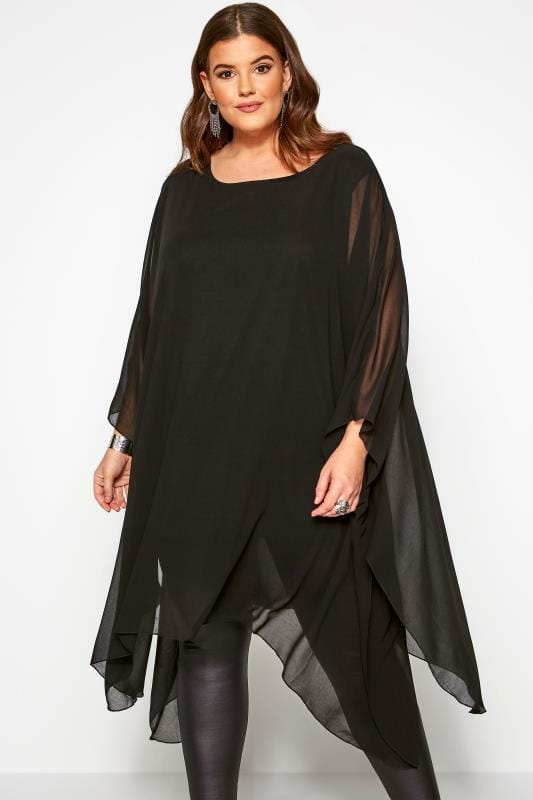 Plus Size Blouses & Shirts Black Chiffon Cape Top