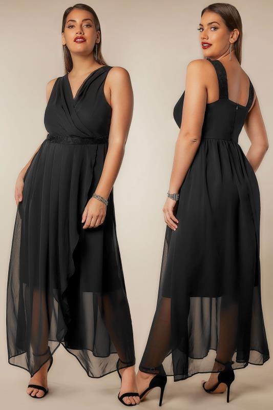 Black Chiffon Maxi Dress With Wrap Front & Lace Details Plus ...