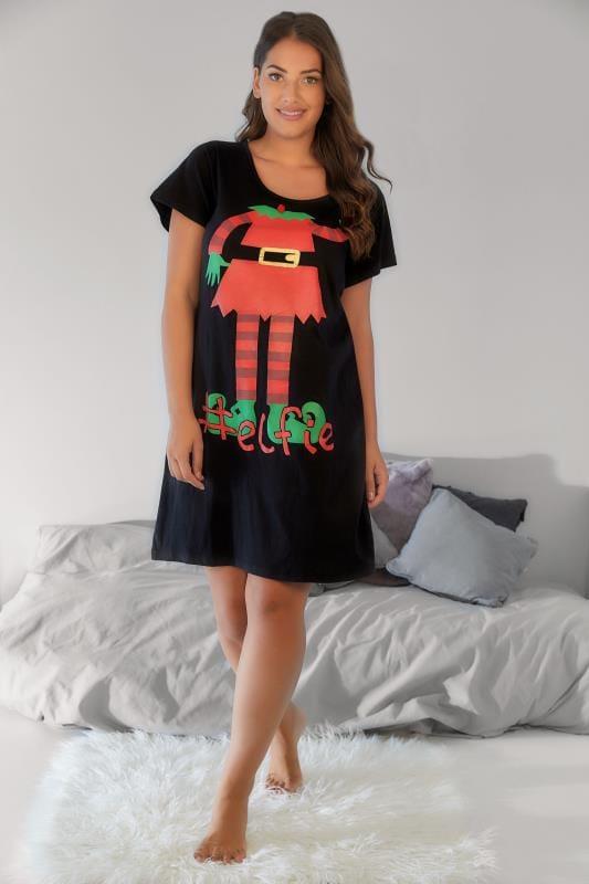 Plus Size Nightdresses & Chemises Black Christmas #Elfie Novelty Print Nightdress