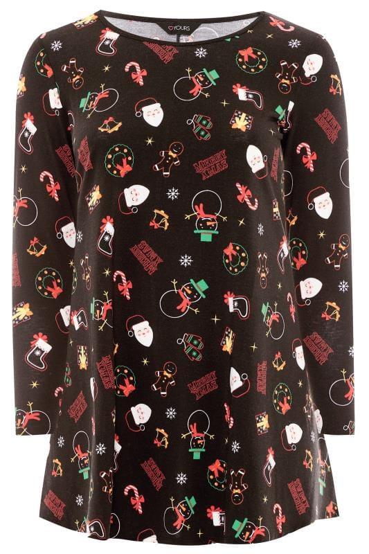 Plus Size Tunics Black Christmas Tunic