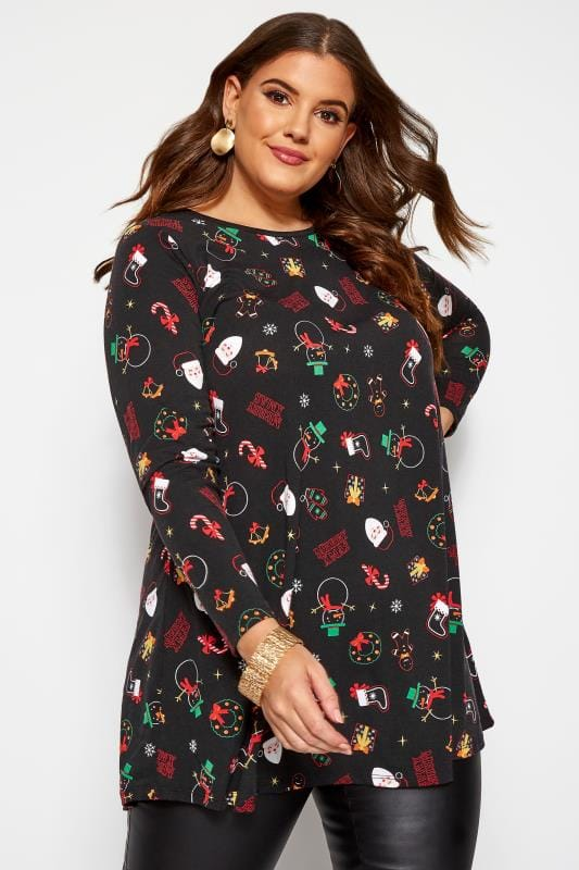 Plus Size Tunics Black Christmas Tunic