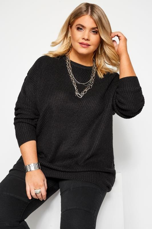 Plus Size Jumpers Black Chunky Knitted Jumper