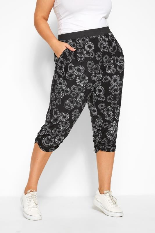 Black Circular Cropped Harem Trousers
