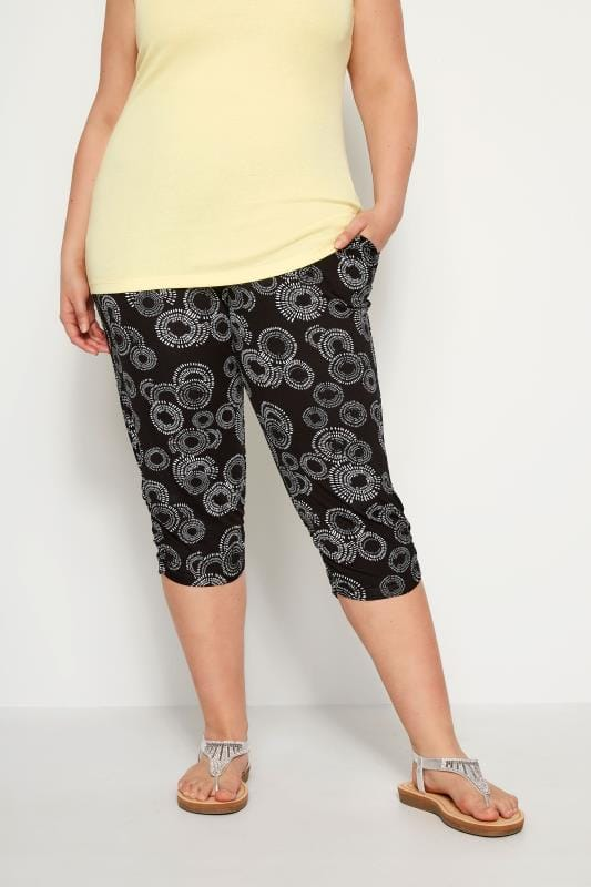 Plus Size Cropped Trousers Black Circular Cropped Harem Trousers