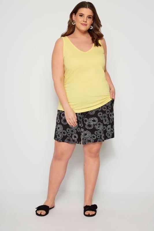 Black Circular Print Jersey Shorts
