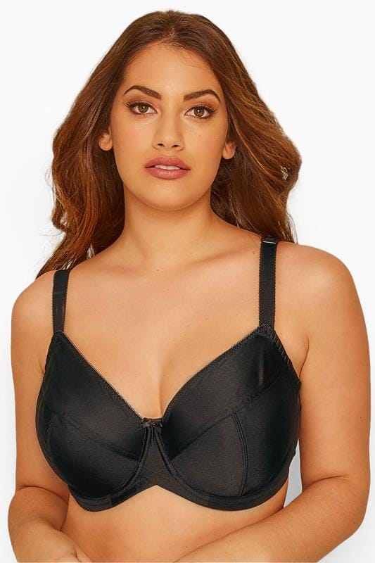 Plus Size Underwired Bras Grande Taille Black Classic Smooth Non-Padded Underwired Bra