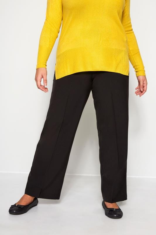 Straight Leg Trousers Grande Taille Black Classic Straight Leg Trousers With Elasticated Waistband