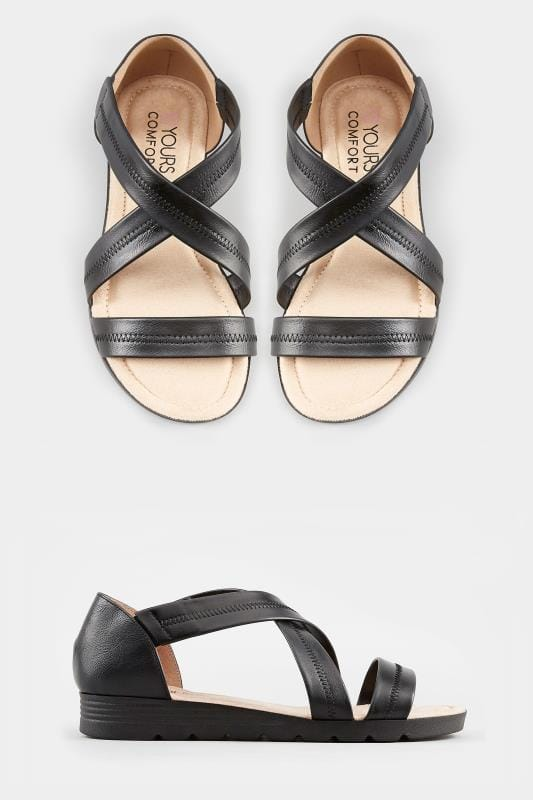 Black Closed Back Cross Over Sandals In Extra Wide Fit