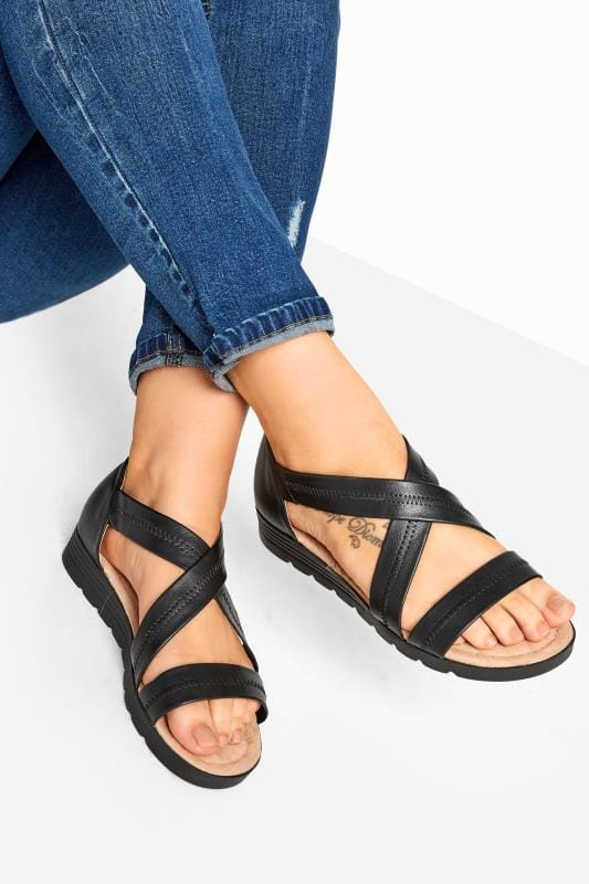 Wide Fit Sandals Black Closed Back Cross Over Sandals In Extra Wide Fit