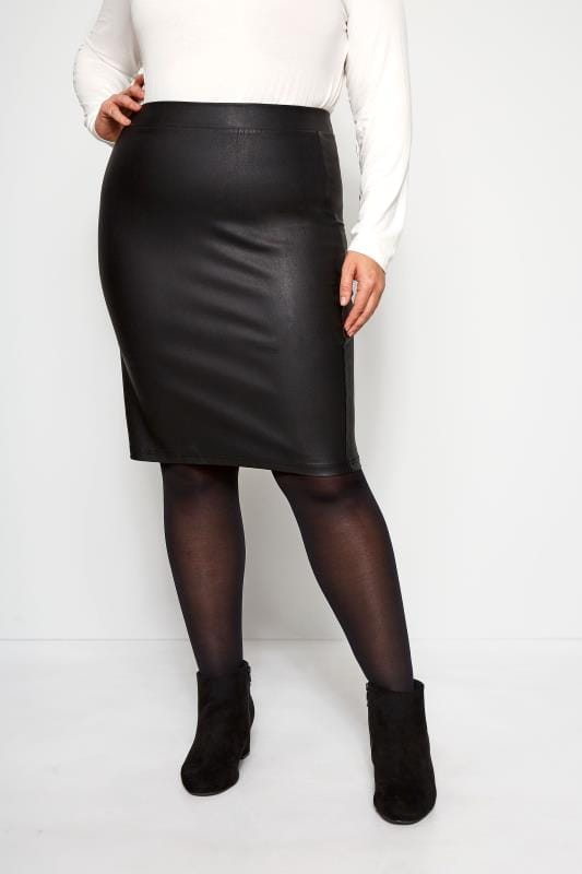 Plus Size Pencil Skirts Black Coated Bengaline Skirt