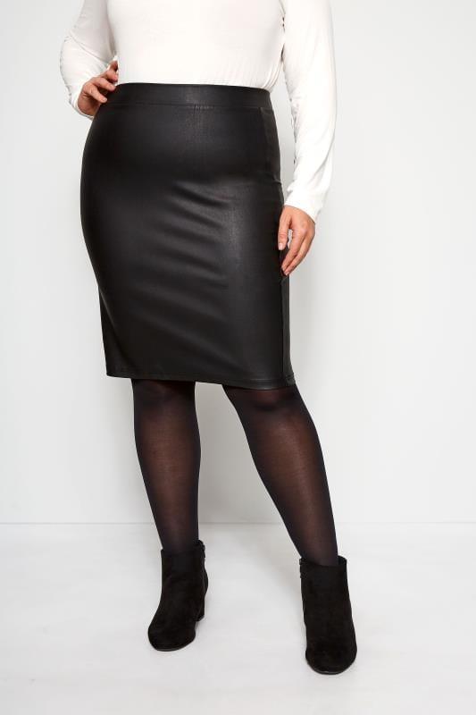 Plus Size Pencil Skirts Black Coated Bengaline Skirt