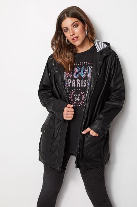 Black Coated Jacket With Striped Lining