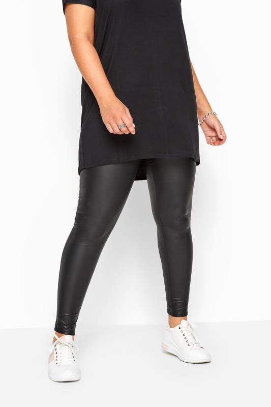 Plus Size Fashion Leggings Black Coated Look Leggings