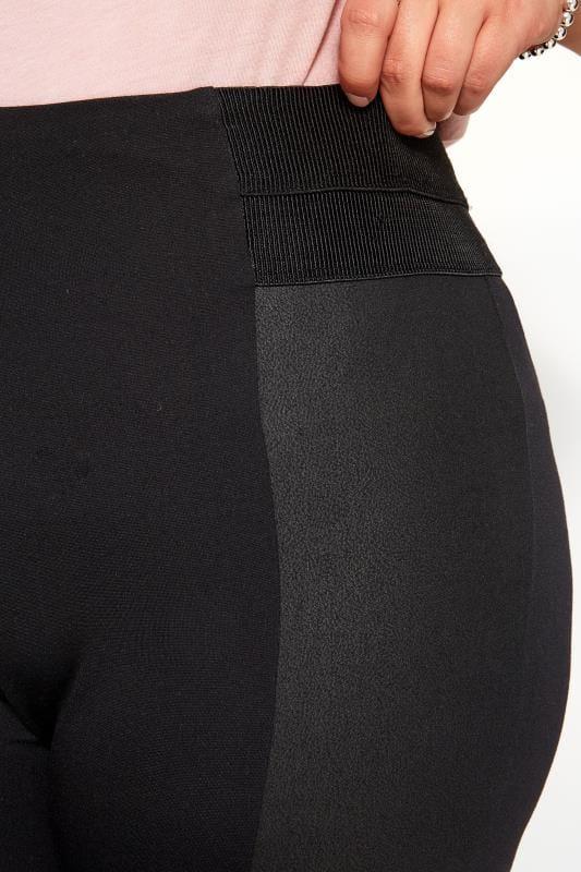 Black Coated Panel Ponte Leggings