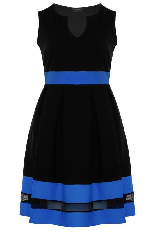 Большие размеры | Черные платья Black & Cobalt Blue Skater Dress