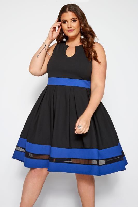 Große Größen Schwarze Kleider Skaterkleid mit Mesh-Einsatz - Schwarz/Kobaltblau