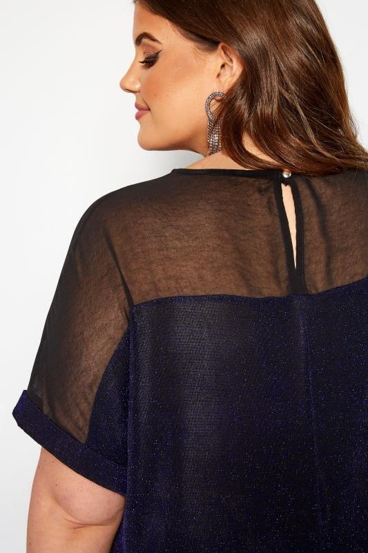 Black & Cobalt Blue Textured Sparkle Chiffon Top