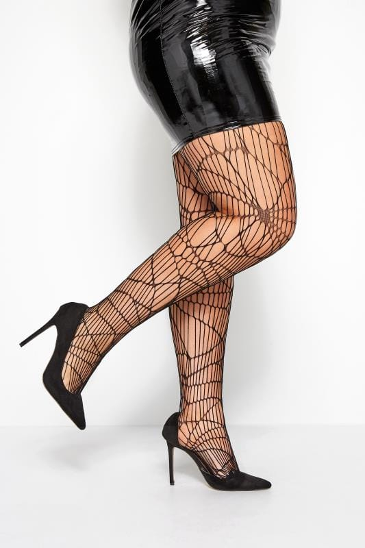 Plus Size Tights Black Cobweb Net Tights