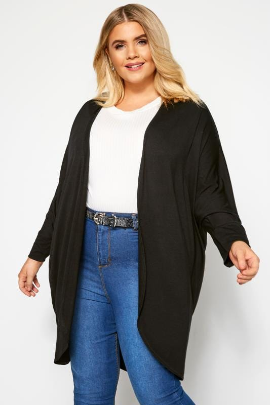 Plus Size Knitted Cardigans Black Cocoon Cardigan