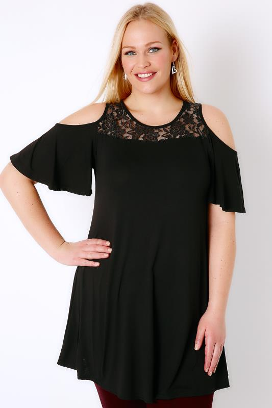 Black Cold Shoulder Longline Top With Lace Yoke