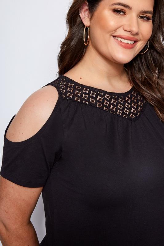 Black Crochet Cold Shoulder Top