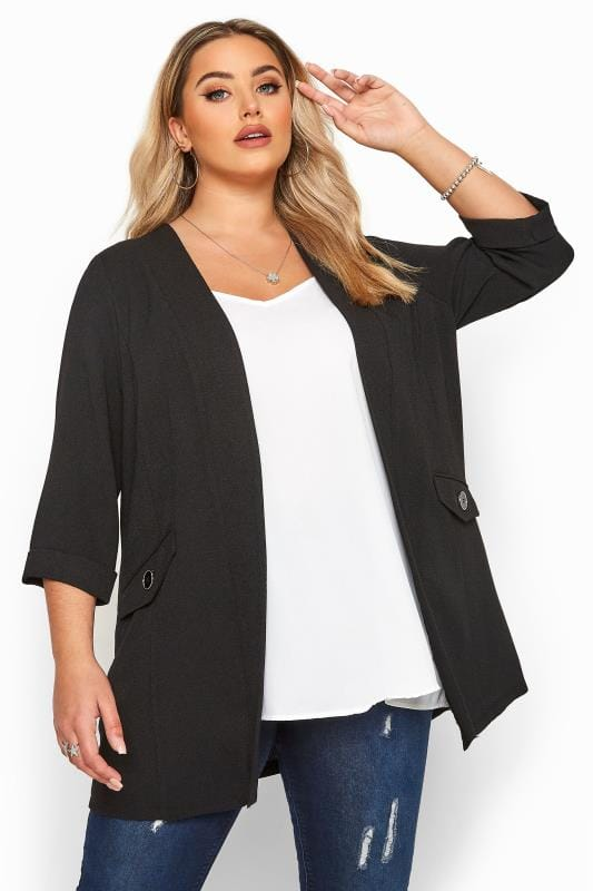 Black Collarless Blazer Jacket