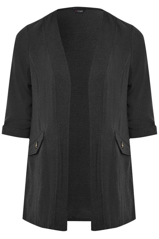 Black Collarless Blazer Jacket