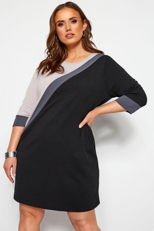 Plus-Größen Kleider mit Ärmeln Etui-Kleid im Color-Block-Stil - Schwarz/Grau