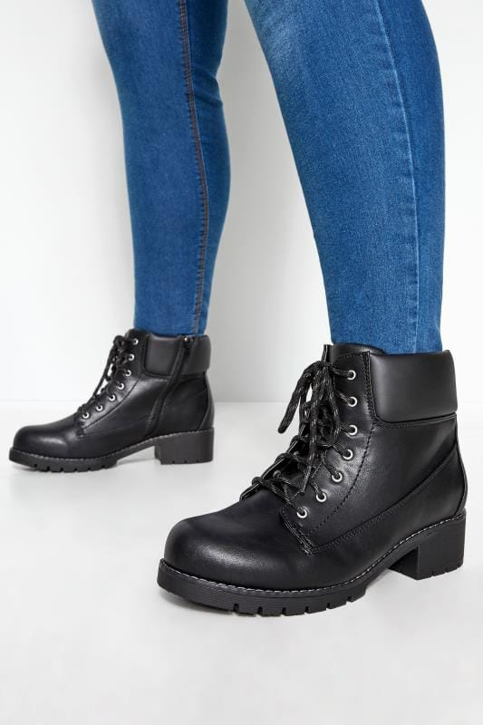 Plus Size Boots Black Combat Lace Up Ankle Boots In Extra Wide Fit