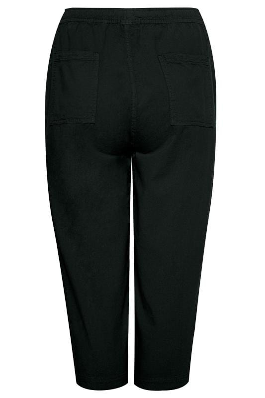 Black Cool Cotton Cropped Trousers