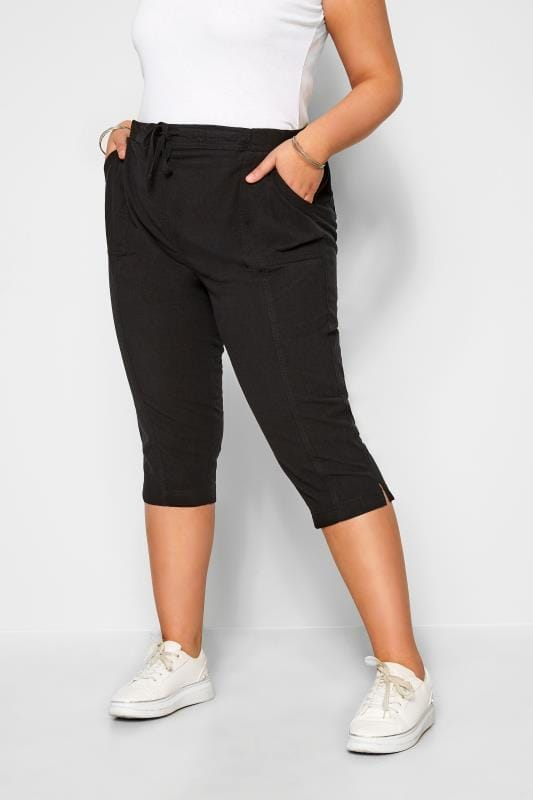 Cropped Trousers Grande Taille Black Cool Cotton Cropped Trousers
