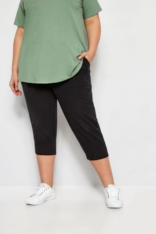 Plus Size Capri Pants Black Cool Cotton Cropped Trousers