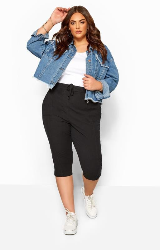 Cropped Trousers dla puszystych Black Cool Cotton Cropped Trousers