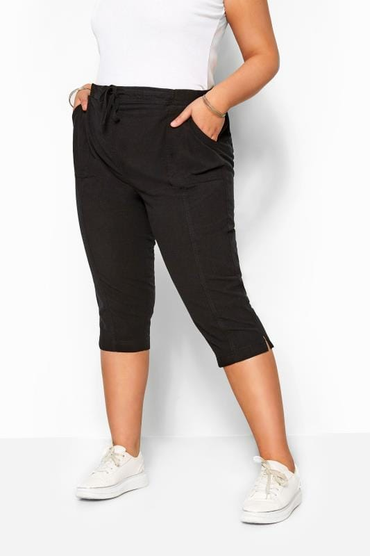 Plus Size Cropped Trousers Black Cool Cotton Cropped Trousers
