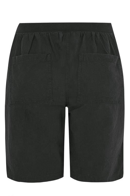Black Cool Cotton Pull On Shorts