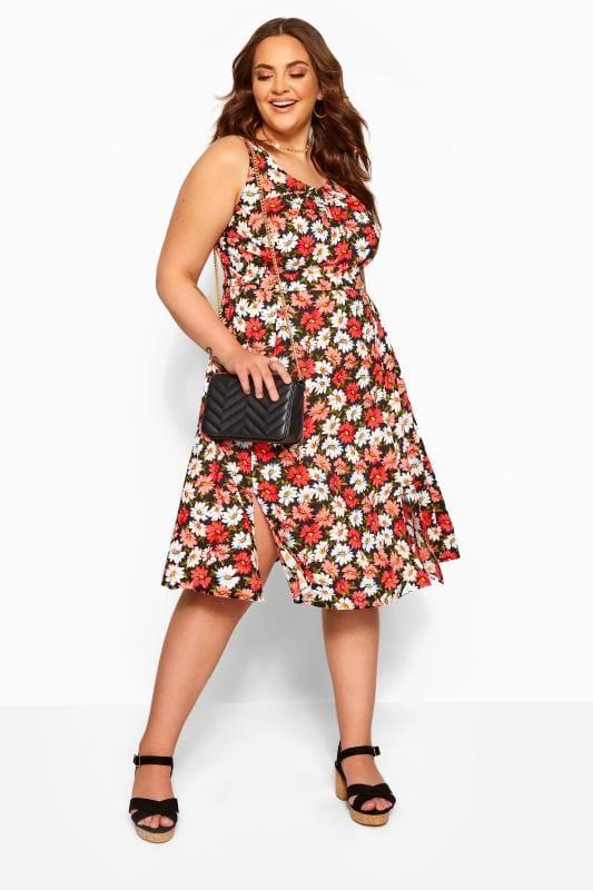 Yours Clothing Women/'s Plus Size Black /& Pink Floral Drape Pocket Dress