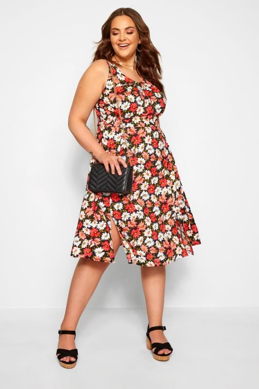 Plus Size Casual Dresses Black & Coral Pink Daisy Print Skater Dress