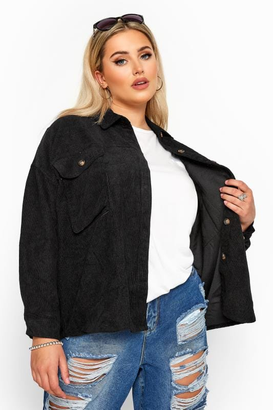 Plus Size Shirts Black Cord Shacket
