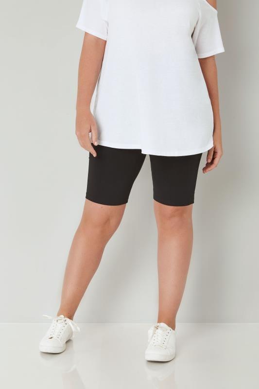 Schwarze kurze Baumwoll-Leggings