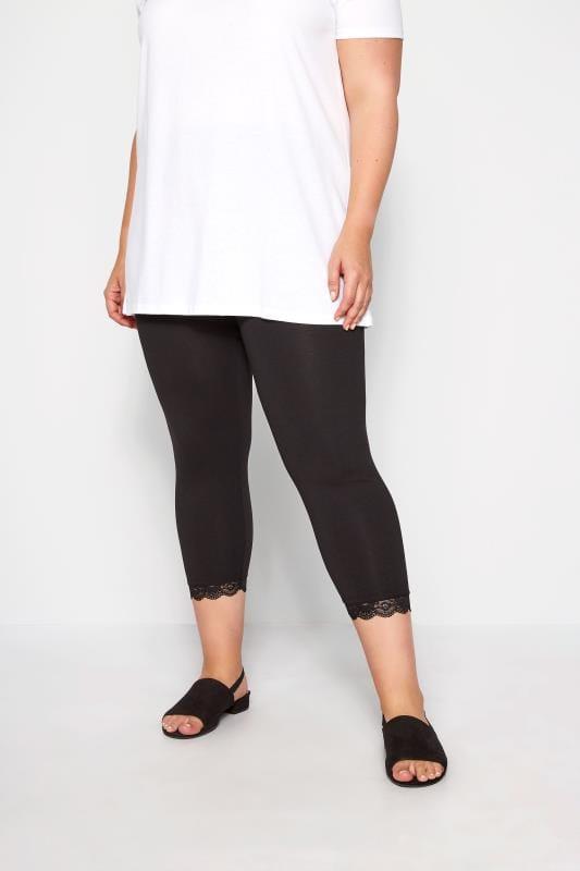 Plus-Größen Cropped & Short Leggings Black Cotton Essential Crop Legging With Lace Trim