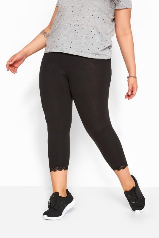 Black Cotton Essential Crop Legging With Lace Trim
