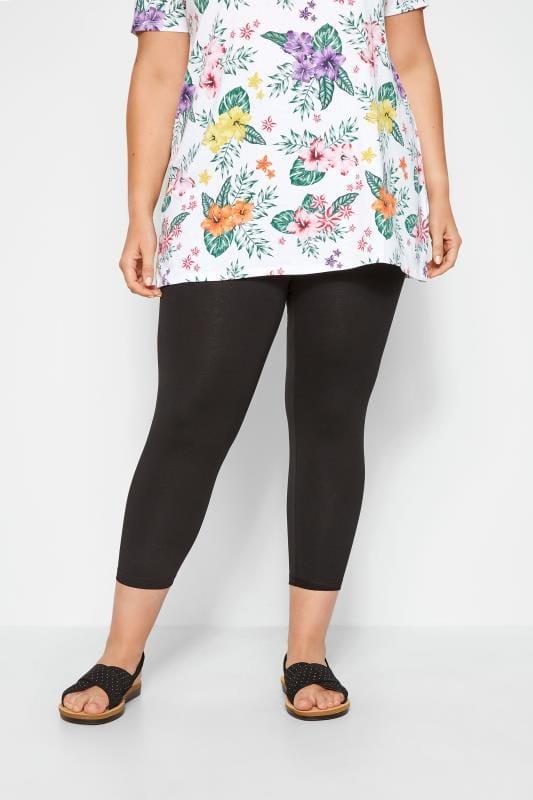 Plus Size Cropped & Short Leggings Black Cotton Essential Cropped Leggings