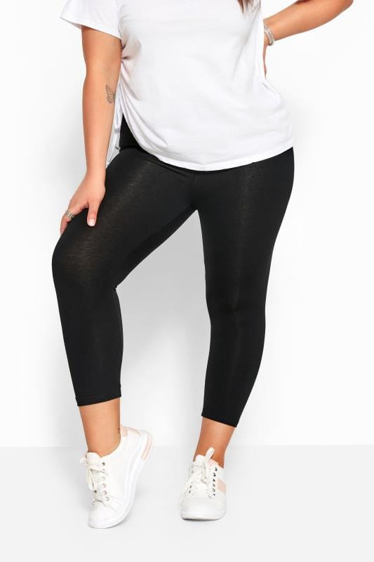 Black Cotton Essential Cropped Leggings