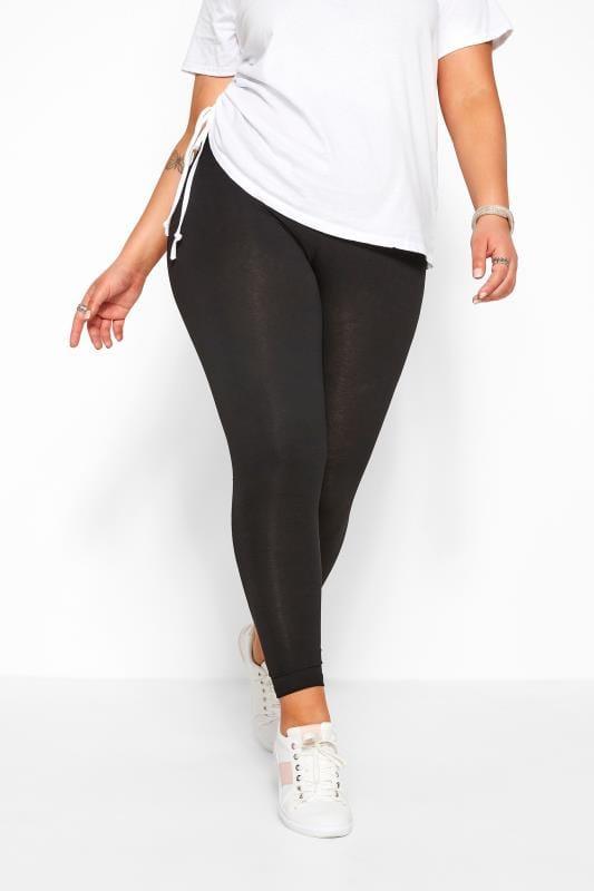Plus Size Basic Leggings Black Cotton Essential Leggings