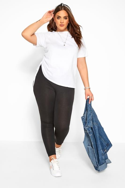 Plus Size Basic Leggings Black Cotton Essential Leggings