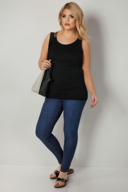 Black Cotton Vest Top