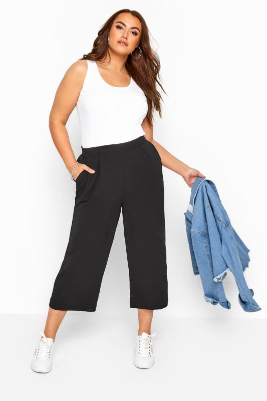 Cropped Trousers Tallas Grandes Black Crepe Cropped Trousers